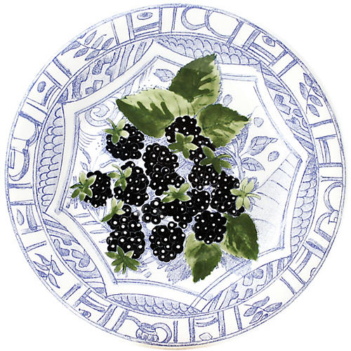 Oiseau Blackberry Dessert Plate, Blue/White