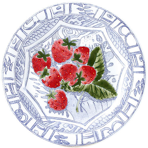 Oiseau Strawberry Canape Plate, Blue/White