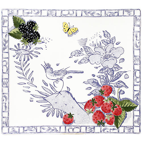 Oiseau Square Serving Plate, Blue/White