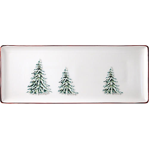 Noel Oblong Serving Tray, White/Multi