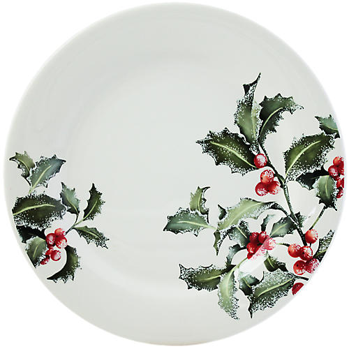 Holly Dinner Plate, White/Multi