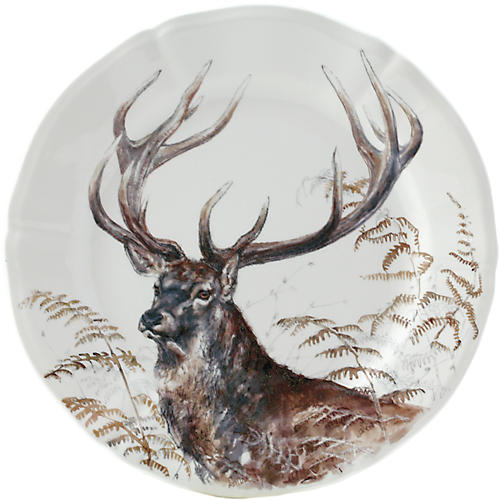 Sologne Deer Dessert Plate, White/Multi
