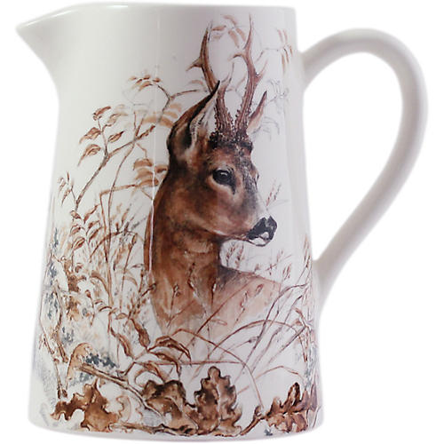 Sologne Deer Pitcher, White/Multi