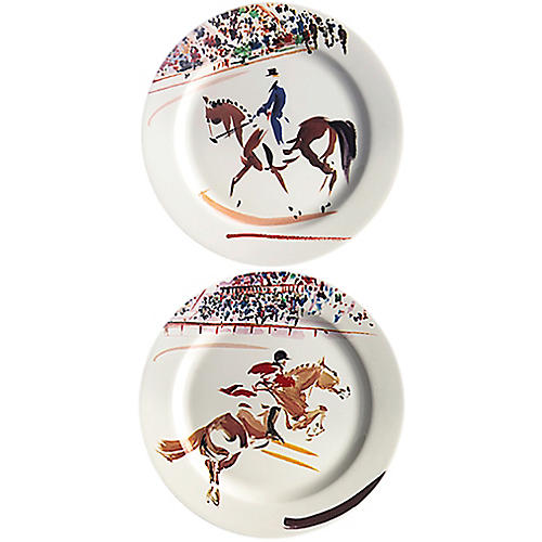 S/2 Cavaliers Coasters, White/Multi