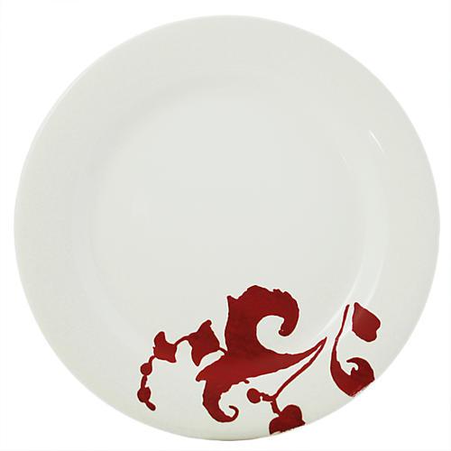 Garance Dessert Plate, White/Red