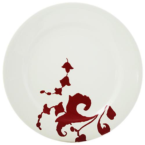 Garance Dinner Plate, White/Red