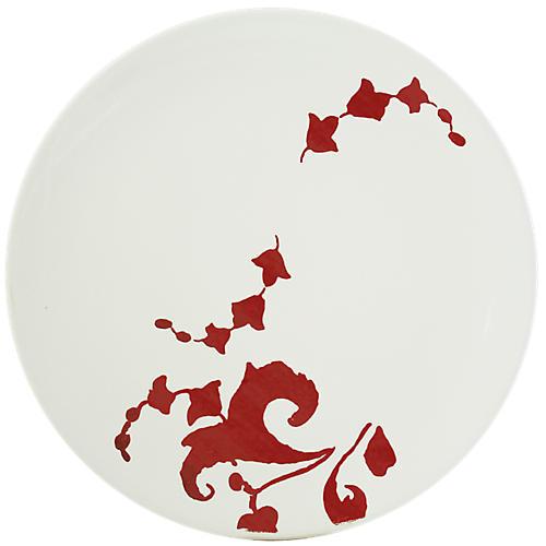 Garance Cake Platter, White/Red