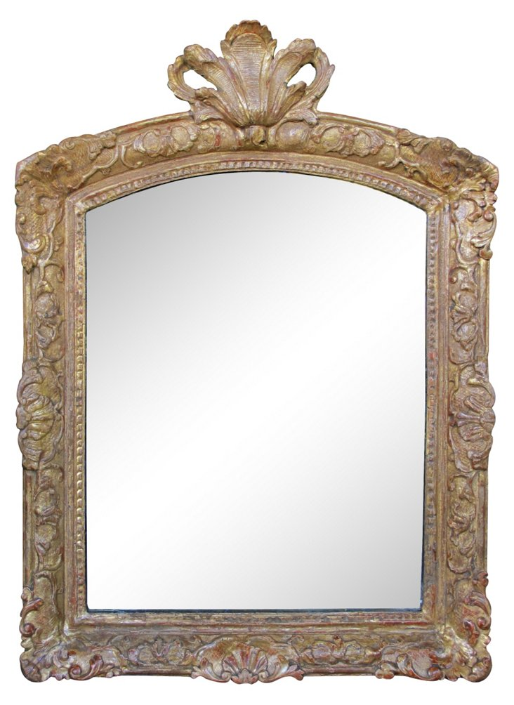 Giltwood Mirror w/ Plumed Crest