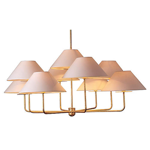 Capucine Chandelier Large, Gold Leaf