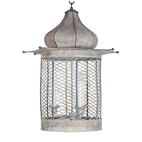 Voliere Lantern, Antiqued White/Blue