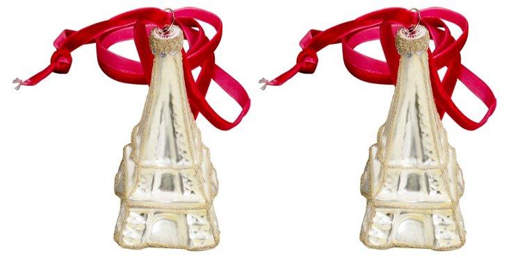 S/2 Glass Eiffel Tour Ornaments, White