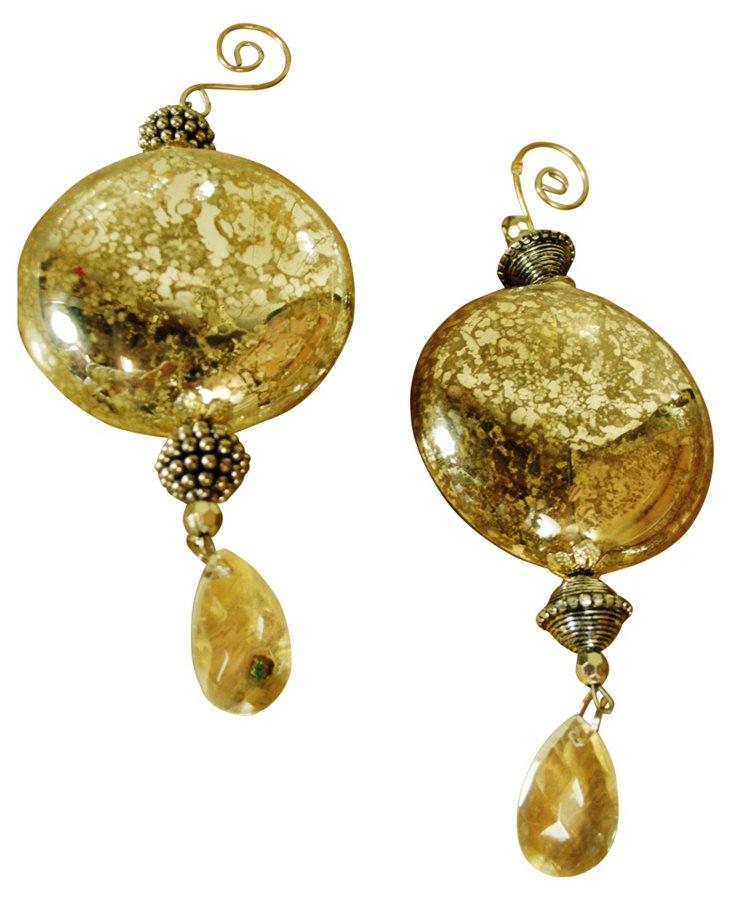 S/2 Glass Disc Ornaments