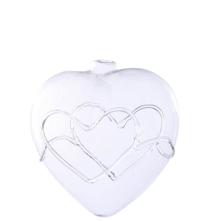 "4"" Glass Heart Ornament"