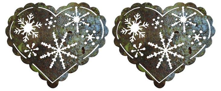 S/2 Metal Heart Ornaments w/ Snowflakes