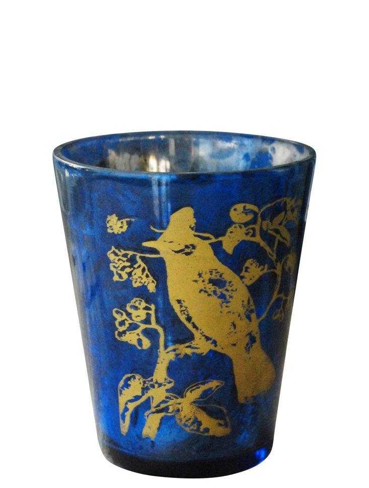 Glass Bird Votive, Blue