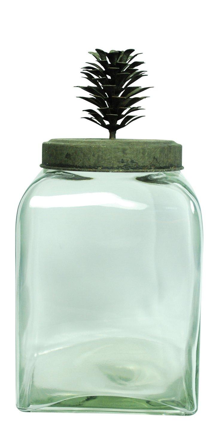"""9"""" Glass Jar w/ Pinecone Top"""