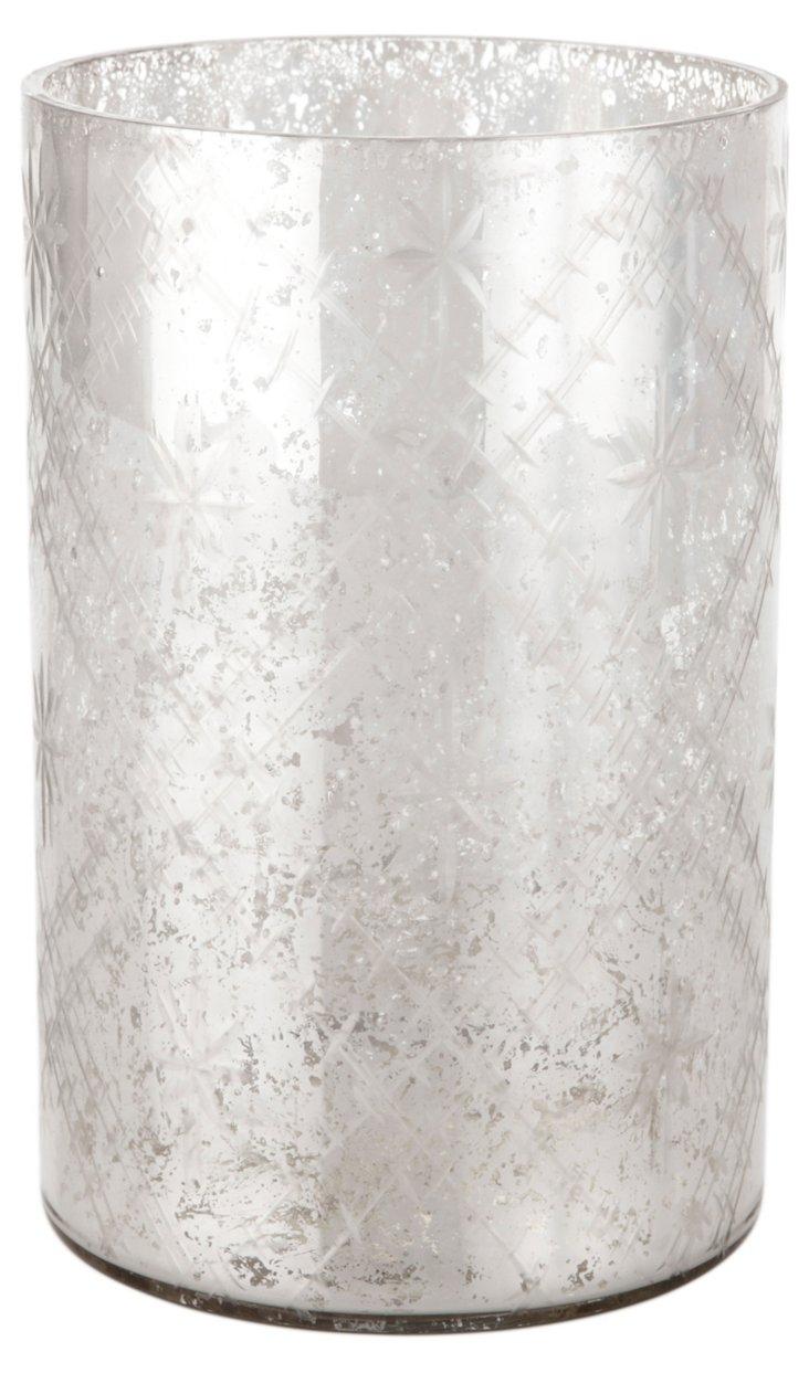"8"" Victoria Cylinder Vase, Silver"