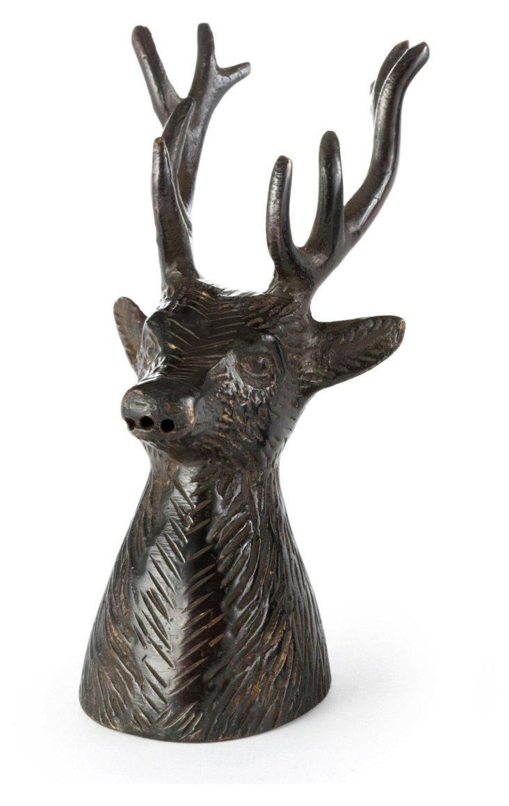 S/2 Metal Deer Heads, Bronze