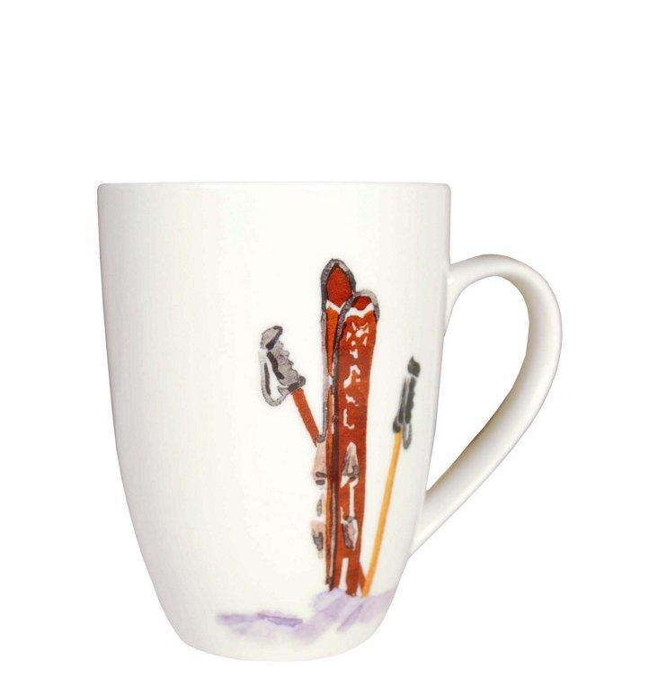 S/2 Ski Mugs, Red