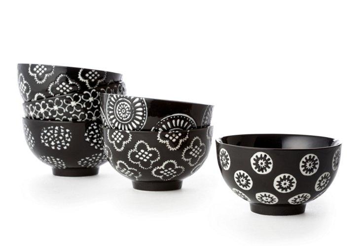 S/6 Small Black Flower Bowls