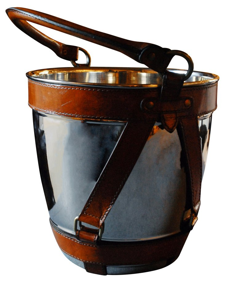Wine Cooler w/ Brown Leather