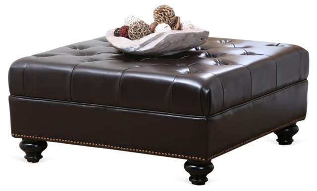 Soho Tufted Leather Ottoman, Dark Brown