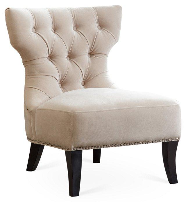 Emelie Tufted Slipper Chair, Ivory