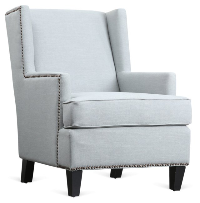 Karla Linen Wing Chair, Sky Blue