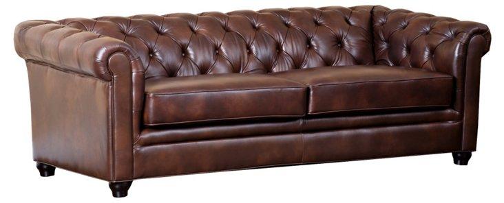 "Royal 86"" Tufted Leather Sofa, Chestnut"