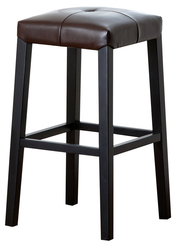 England Leather Stool, Brown
