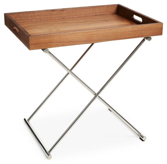 Celina Tray Table, Silver/Brown