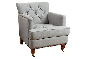 Jeremy Tufted Club Chair, Gray Linen*