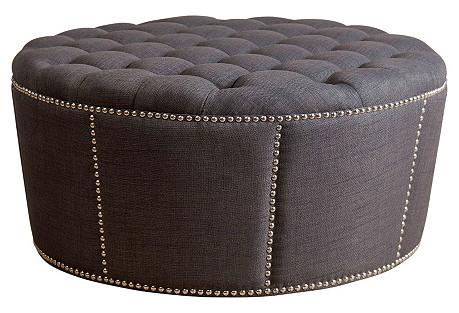 Hampton Round Ottoman, Gray