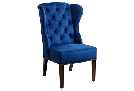 Darby Wingback Side Chair, Navy Velvet