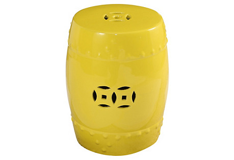Serena Ceramic Garden Stool, Yellow