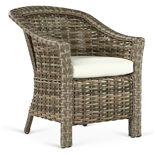 Laymen Armchair, Brown/Natural Sunbrella