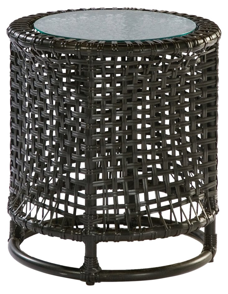 Platinum Side Table, w/ Glass