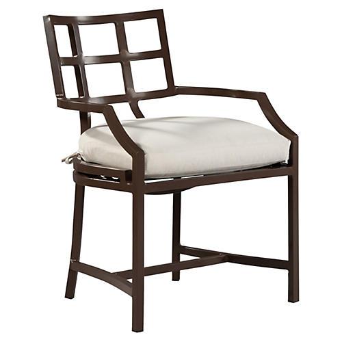 Redington Armchair, Brown/Natural Sunbrella