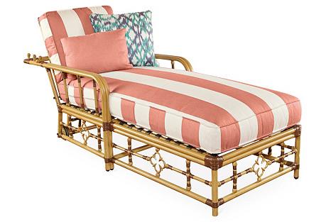 Mimi Stripe Chaise, Coral