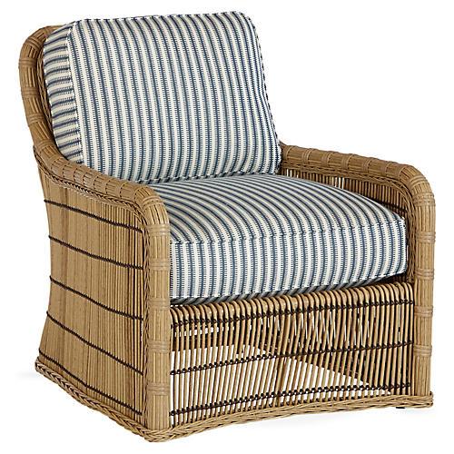 Rafter Lounge Chair, Blue/White Sunbrella