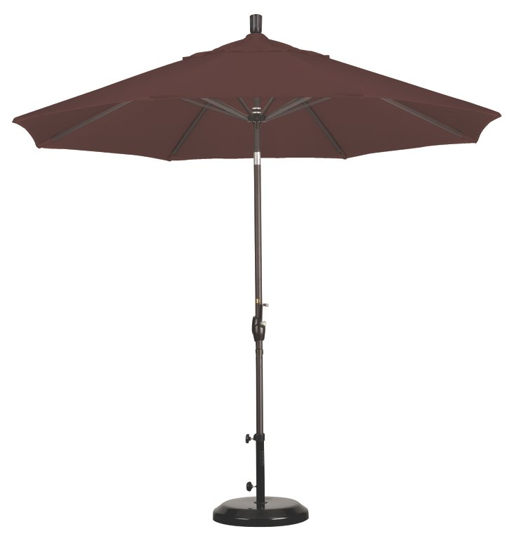 9' Market Umbrella, Bronze/Teak