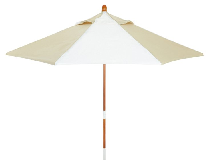 Miami Patio Umbrella, Wood/Beige