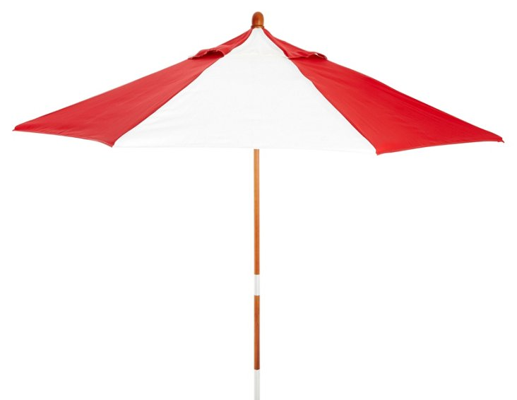 Miami Patio Umbrella, Wood/Red