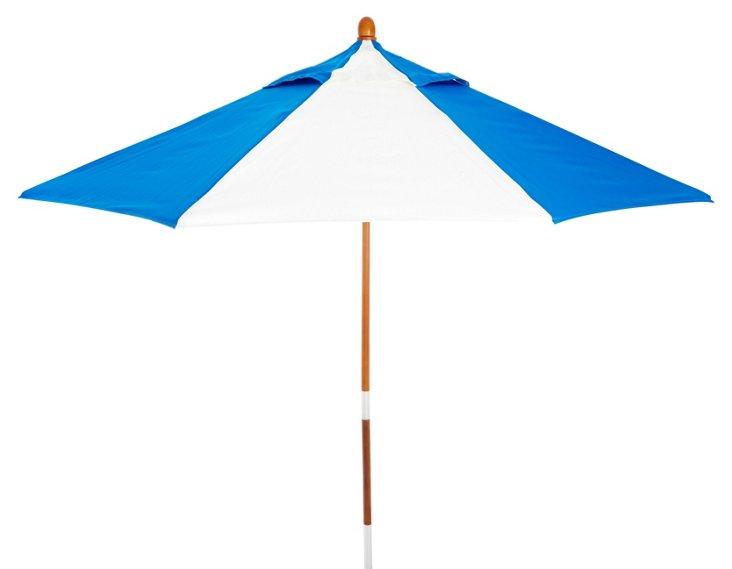 Miami Patio Umbrella, Wood/Blue
