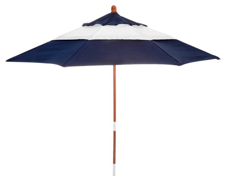 Malibu Patio Umbrella, Wood/Navy