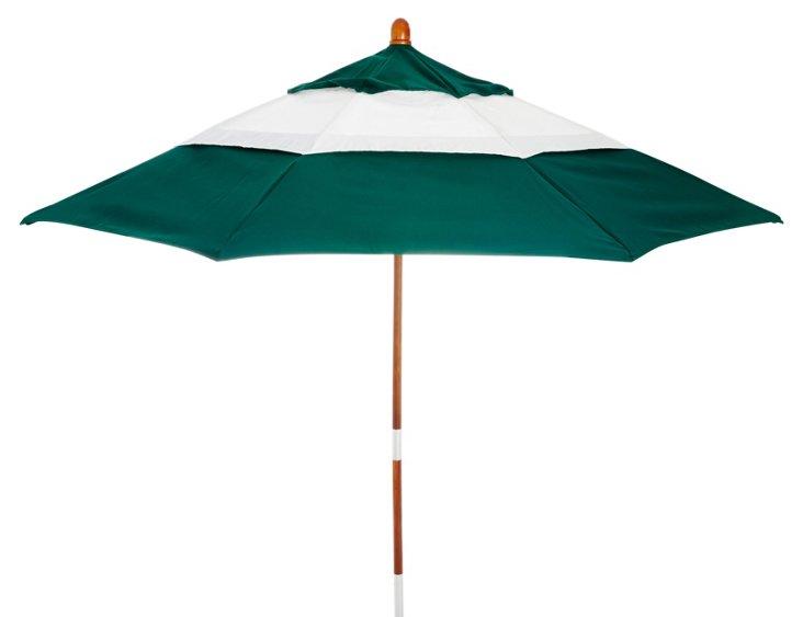 Colorblock Patio Umbrella, Green/White