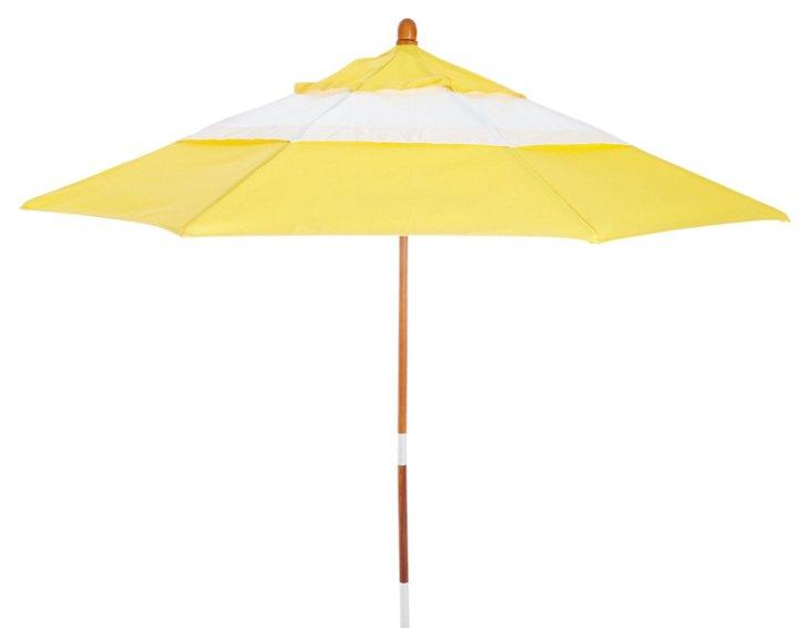 Colorblock Patio Umbrella, Yellow/White