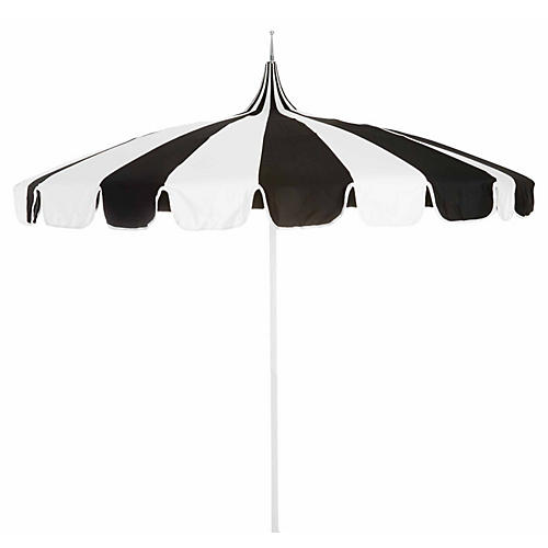 Pagoda Patio Umbrella, Black/White