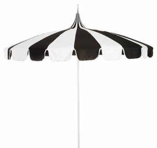 Pagoda Patio Umbrella, Black/White   Patio Umbrellas U0026 Stands   Outdoor  Furniture   Outdoor | One Kings Lane