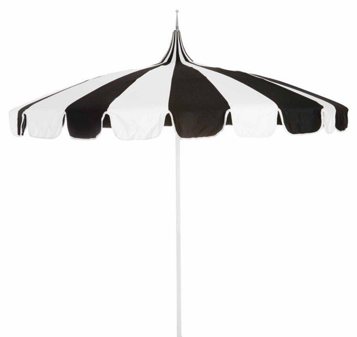 Pagoda Patio Umbrella, Black/White